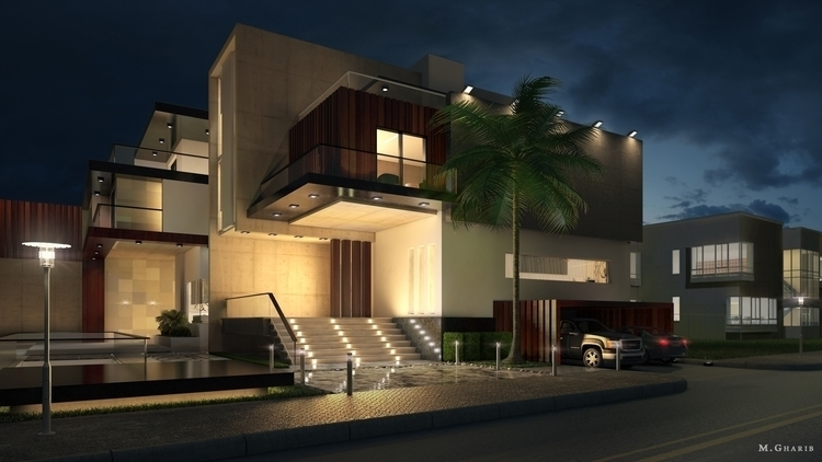 Modern villa, night Visualisati - mgharib | ello