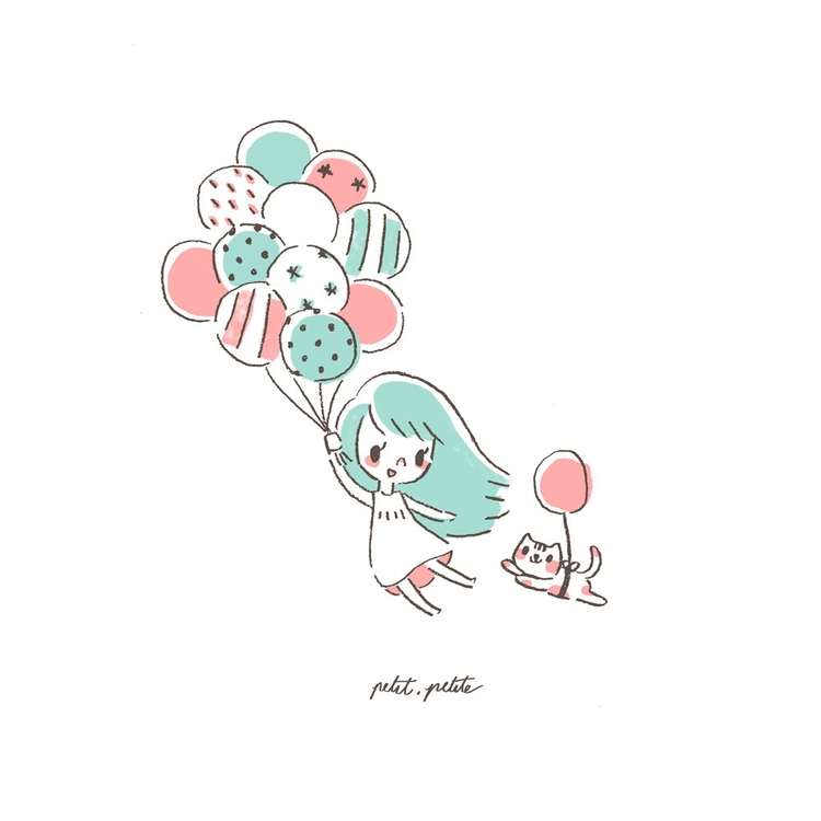 Balloon girl - illustration, balloon - petitpetite | ello