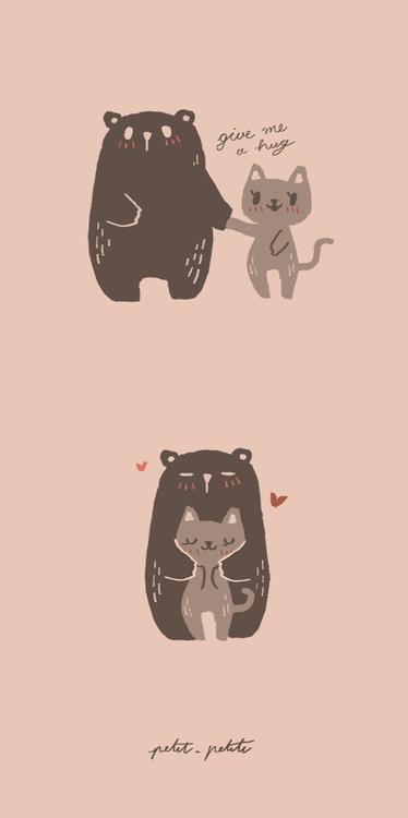 Give hug - illustration, bear, cat - petitpetite | ello