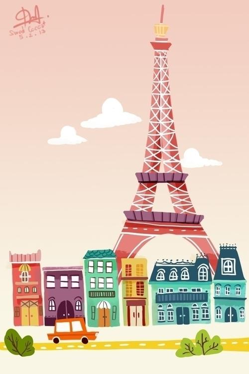Eiffel tower - paris, illustration - sweetcocoa | ello