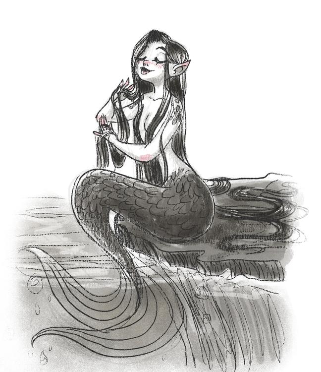 mermaid sketch - mermaids - susandrawsthings | ello