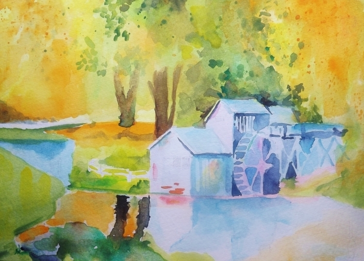 Watermill - Watercolor - painting - giulianobuffi | ello