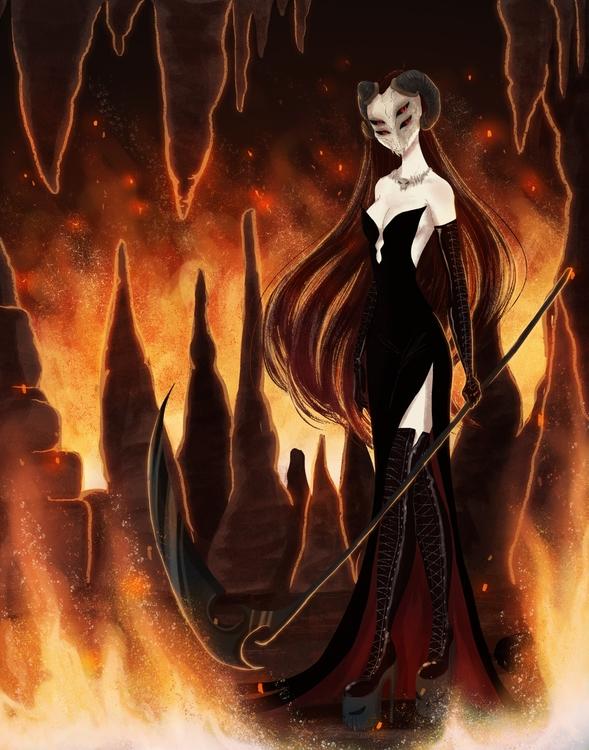 Hell concept - girls, demons, illustration - susandrawsthings   ello