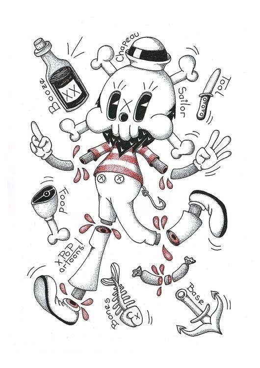 Skulltoons drawing - popart, lowbrow - theodoru | ello