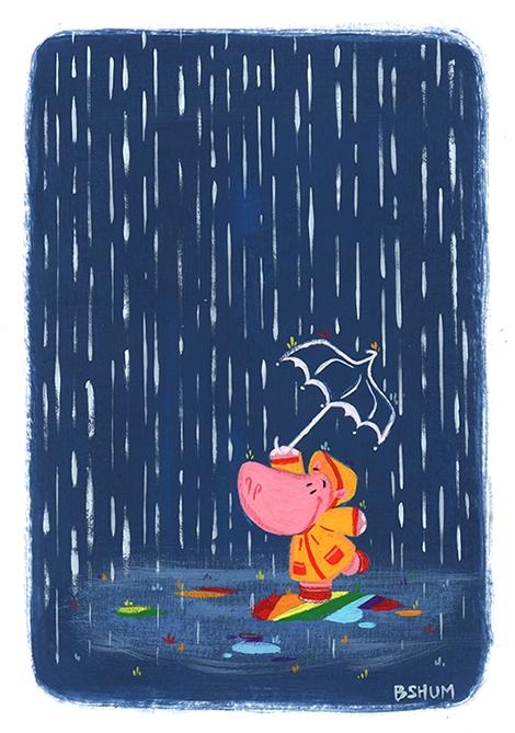 Holly Hippo - gouache, painting - bshum | ello