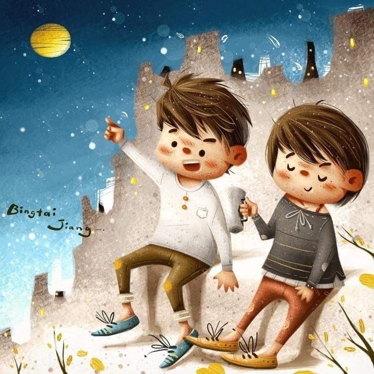 Autumn night - illustration, nigth - bingtai | ello