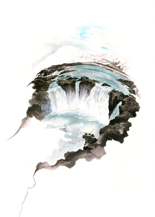 Godafoss, Ink paper. Jérémy Pai - jeremypailler | ello