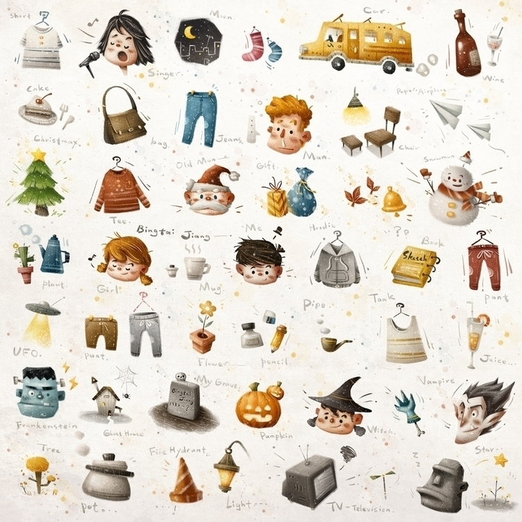 autumn doodles - illustration, painting - bingtai | ello