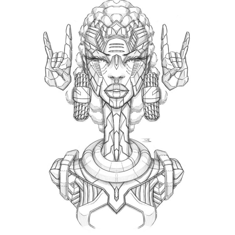Afro-Mecha Series Piece Alpha - illustration - theonewillfocus | ello