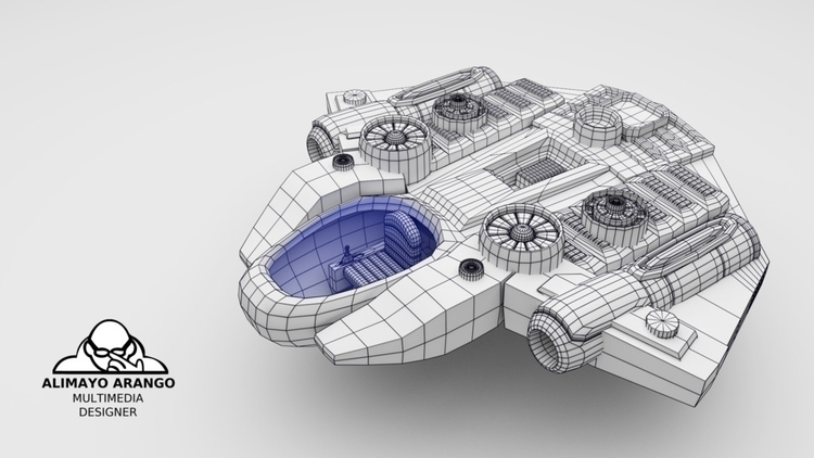 Space fighter ship Wirefram - 3d - alimayoarango | ello