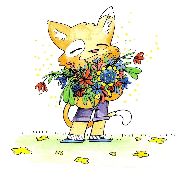 Cat Illustration card - illustration - cloverclo | ello