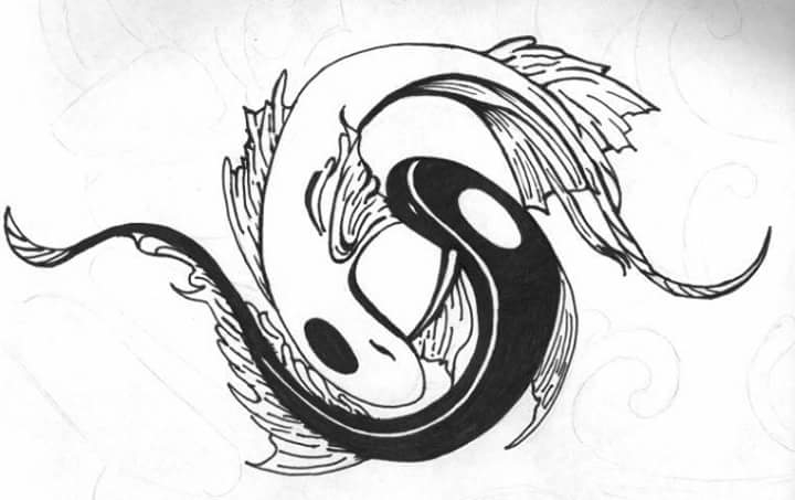 Ying Yang Koi Fish - drawing, illustration - carmanpashawn | ello