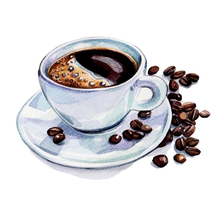 Cup joe - coffee, watercolor, watercolour - hollyexley | ello