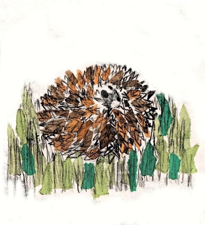 Mixed media hedgehog curled - illustration - laurabuckland | ello