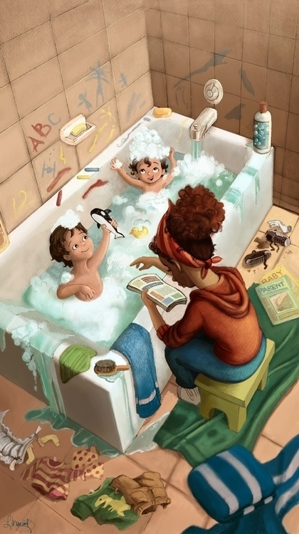 Bathtime - illustration, characterdesign - larissamarantz | ello