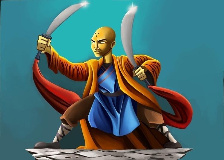 Shaolin monk - illustration, digitalart - andyanime90 | ello