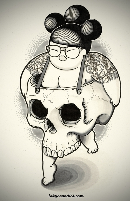 chubby, girl, skull, handdrawn - tokyocandies-1186 | ello