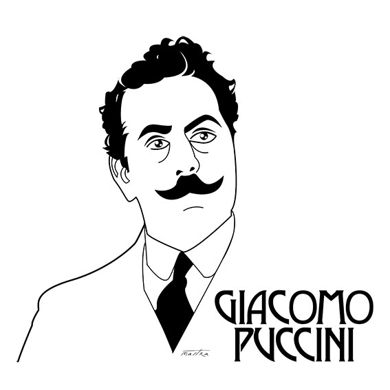 Giacomo Puccini - illustration, drawing - mastra | ello