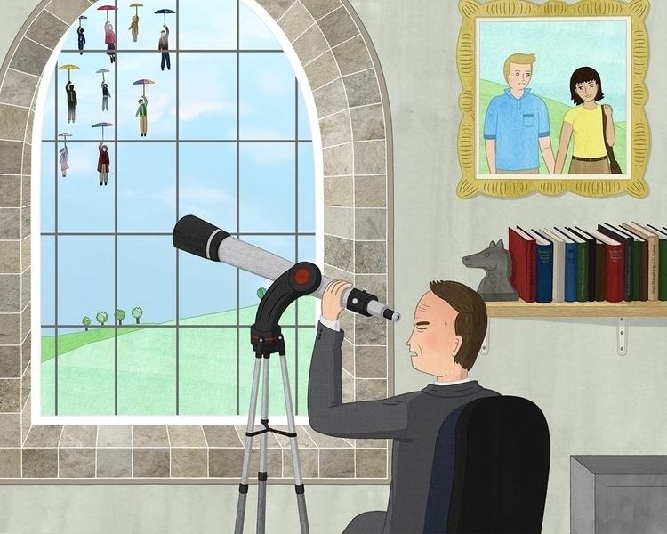 Descent - illustration story - telescope - lucyfarfort | ello