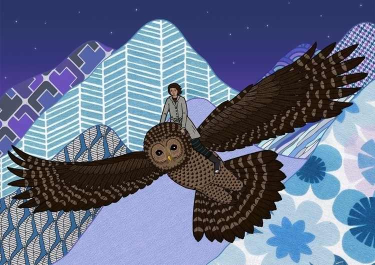 Flight - owl, giantowl, mountains - lucyfarfort | ello