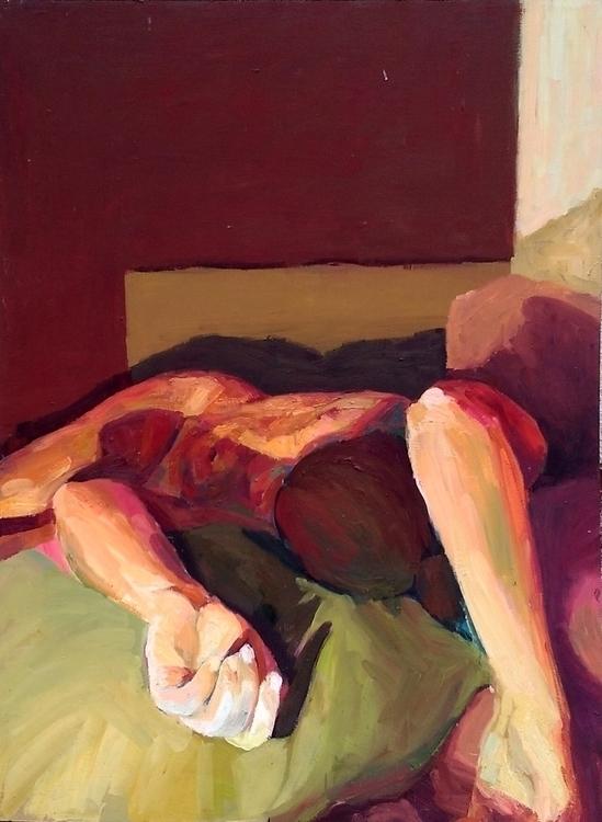Red room, oil lino, 90 120 cm,  - suzanadzelatovic | ello