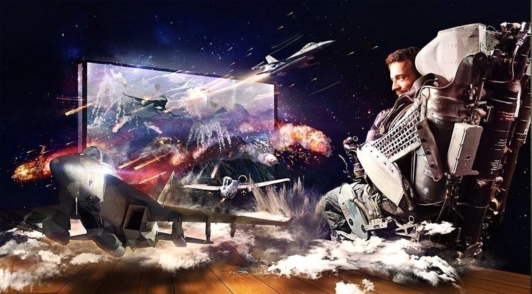 Sky battle - pilot, skybattle, photomanipulation - magdawozniak | ello