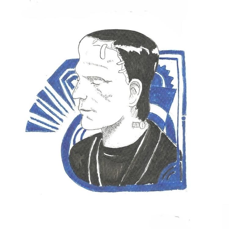 04 Frankenstein - illustration, drawlloween2016 - hotshots2000 | ello