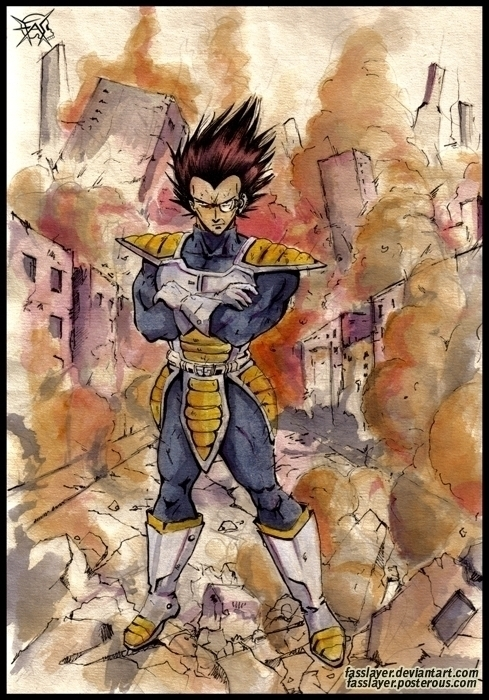 Watercolor fan art Vegeta - illustration - fasslayer | ello