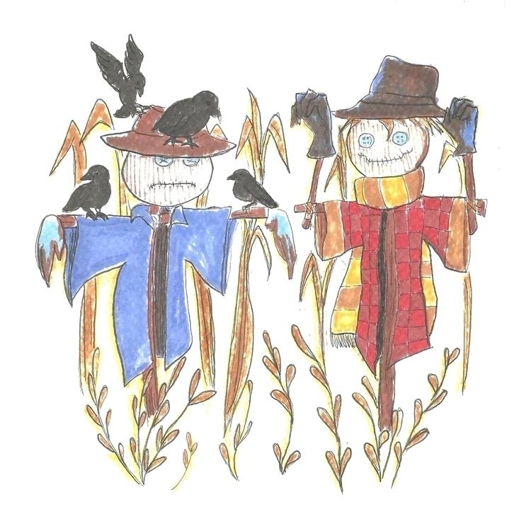27 Scarecrow - illustration, drawlloween2016 - hotshots2000   ello