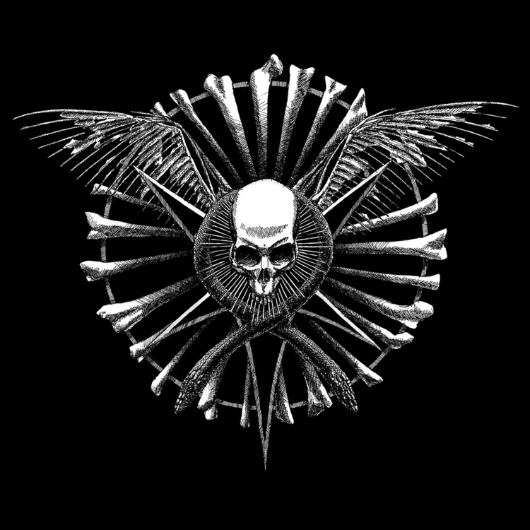 skull, death, bones, wings, pentagram - abovechaos | ello