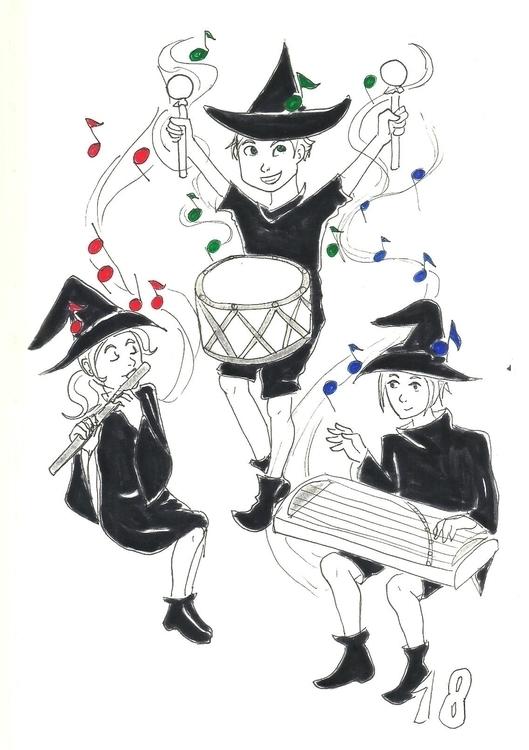 18. Music Witch - illustration, inktober2016 - hotshots2000 | ello