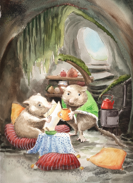 Dormouses - illustration, watercolor - joannapasek | ello
