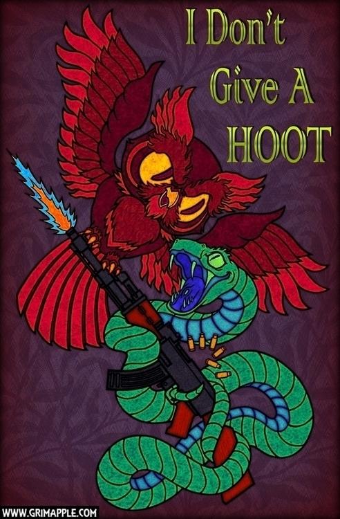 Hoot Hiss: give HOOT - illustration - grimapple | ello