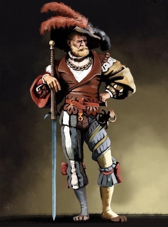 landsknecht - character, illustration - attianart | ello