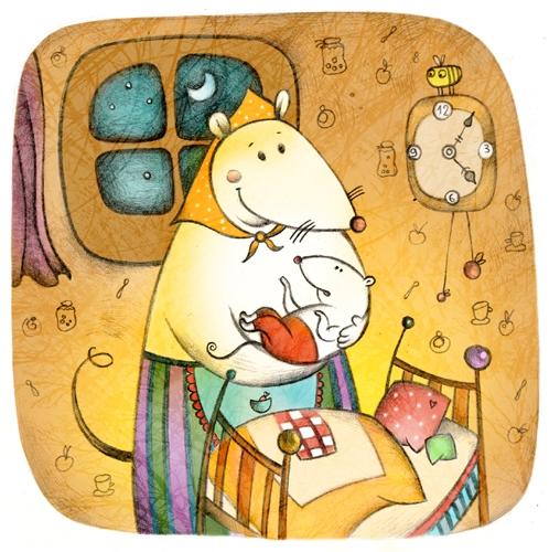 lullaby - illustration, mouse, home - natatulegenova | ello