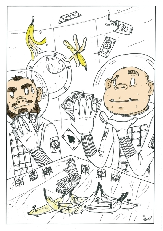 Space monkeyz - illustration, drawing - mircim | ello