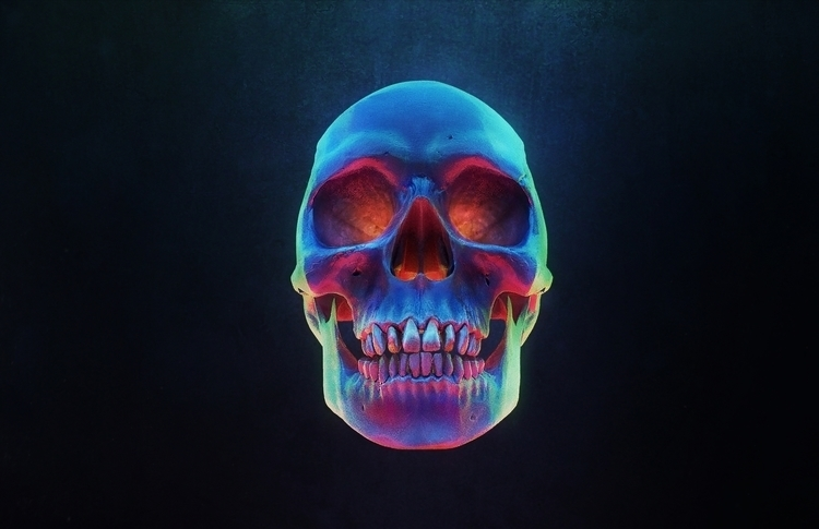 illustration, painting, 3d, skulls - ronyazurdia | ello