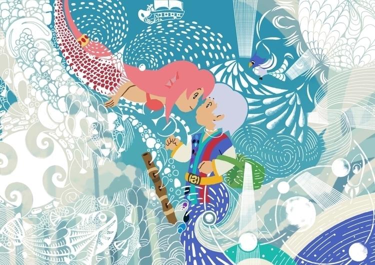 Endless blues - mermaid, sea, water - vaan-1147 | ello