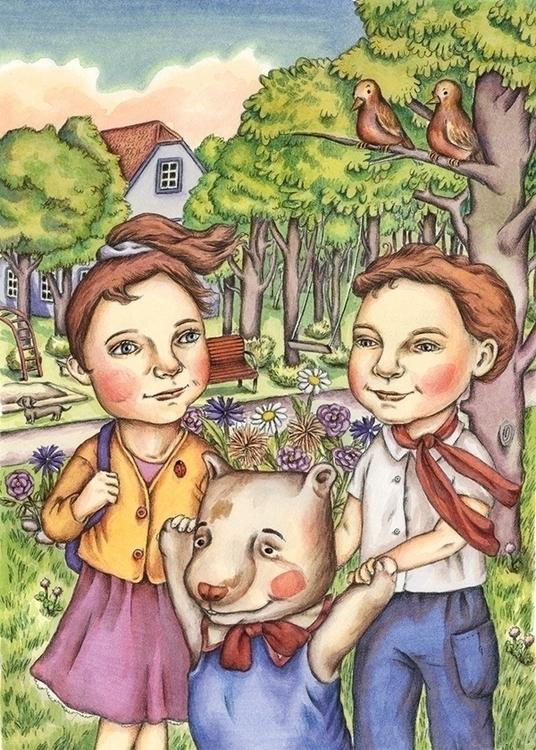 Walk Teddy Bear - illustration, painting - gerdamartens | ello