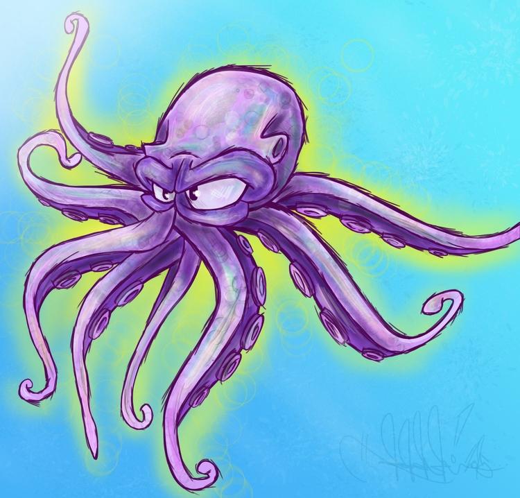 Purple Octopus - illustration, digitalart - j_mcmichael | ello