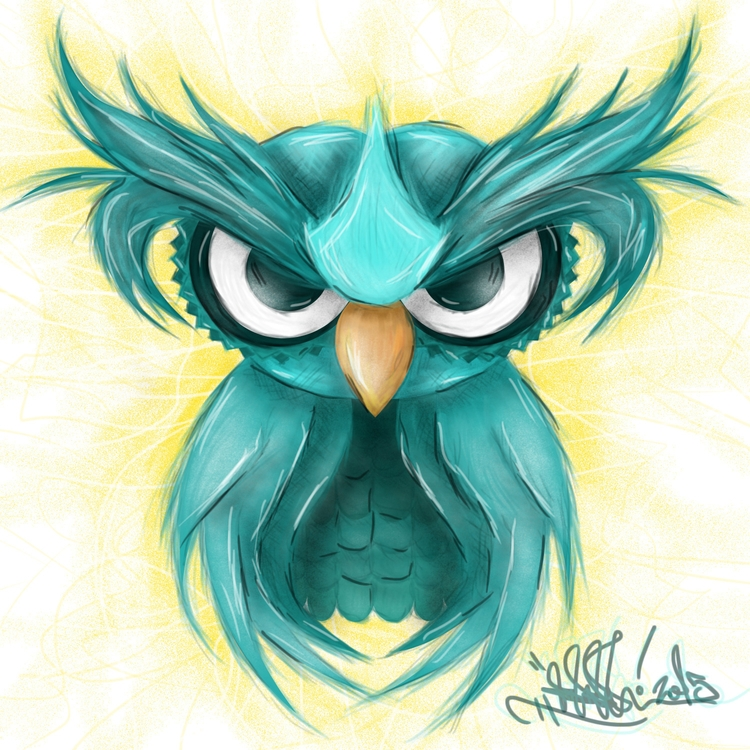 Blue Owl - illustration, wacom, owl - j_mcmichael | ello