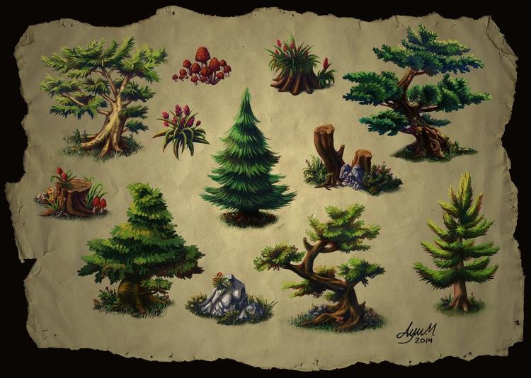 Trees - tree, trees, illustration - ayu-3119 | ello