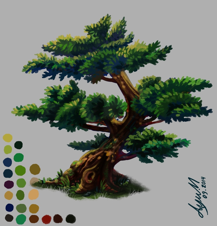 tree, trees, painting, conceptart - ayu-3119 | ello