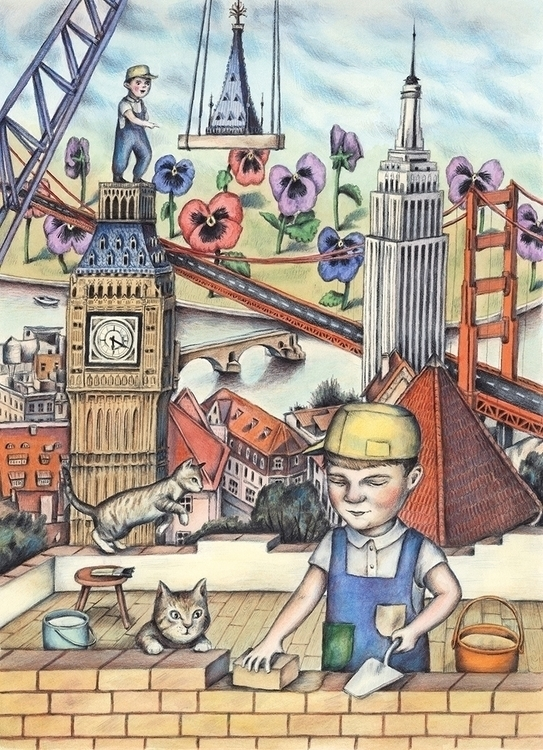 Building City - illustration, painting - gerdamartens | ello
