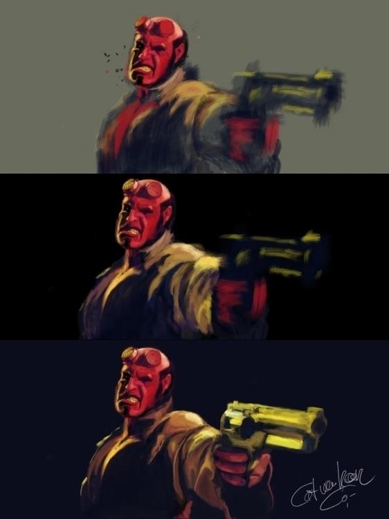 Hell Boy (making - digitalpainting - tokkatrain | ello