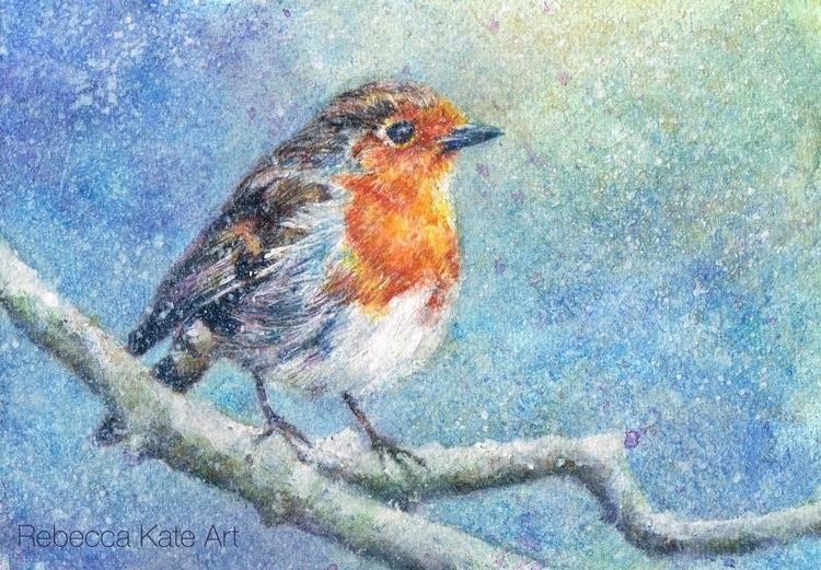 Winter Robin - robin, painting, watercolour - rebeccakateart | ello