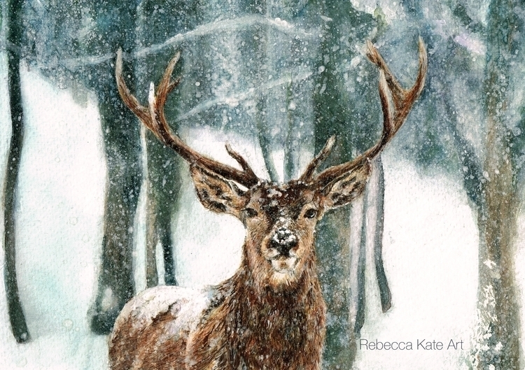 Reindeer - reindeer, stag, watercolour - rebeccakateart | ello