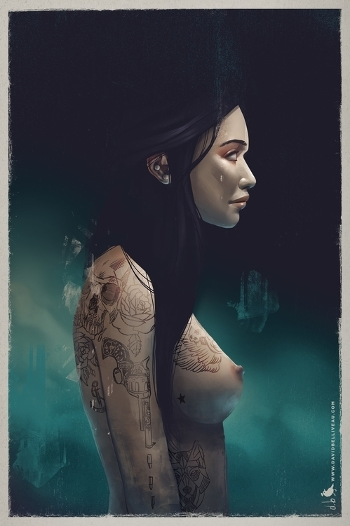 Azure  - sexy, girl, nude, tattoos - davidbelliveau | ello