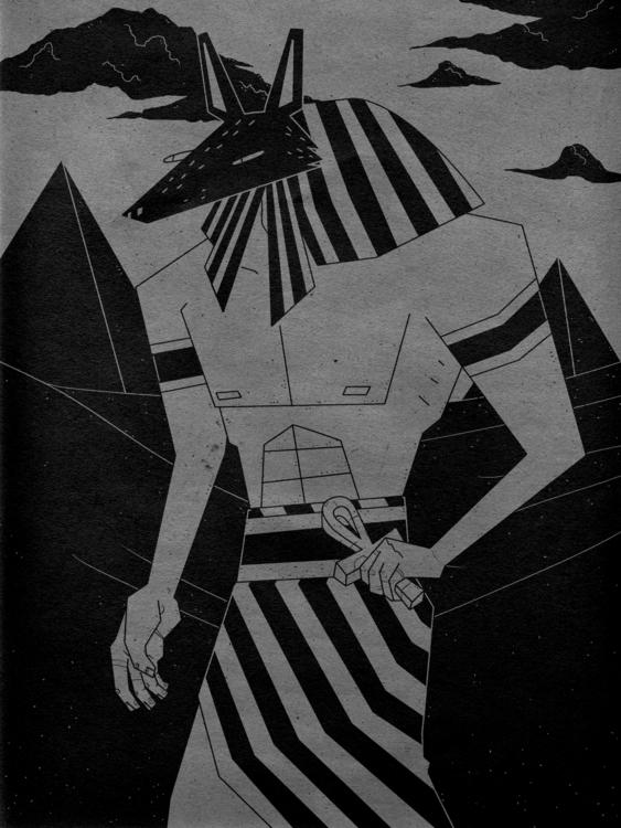 Anubis, funky dog god - illustration - odddino | ello