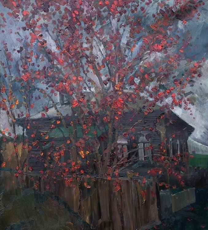 Red rowan, 70/80, Oil / canvas - antonbogatov | ello